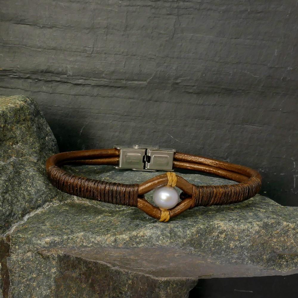 Bracelet Black River perle de culture grise  tressage expresso