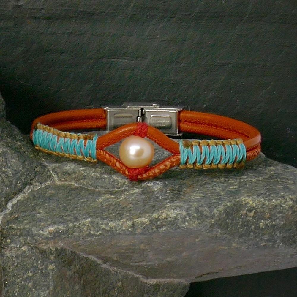 Arizona Bracelet pour femme en cuir et perle de culture