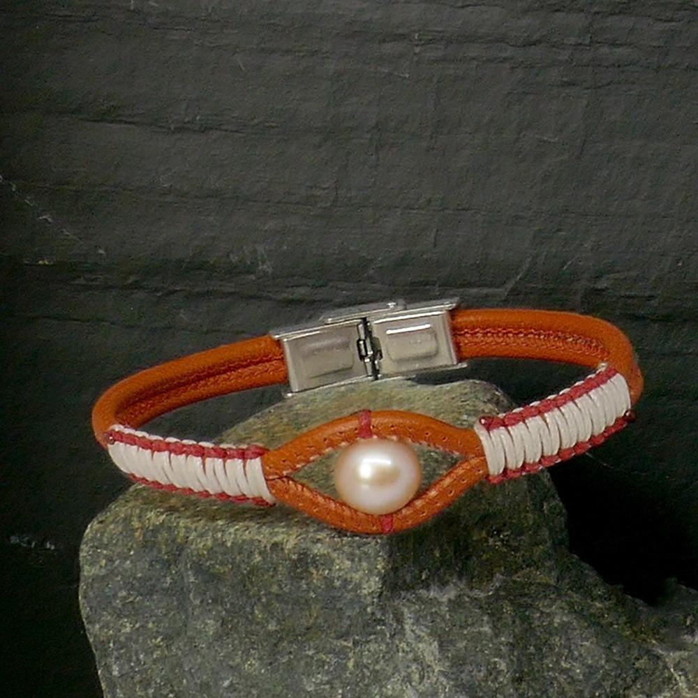 Yuma Bracelet femme en cuir orange et perle de culture