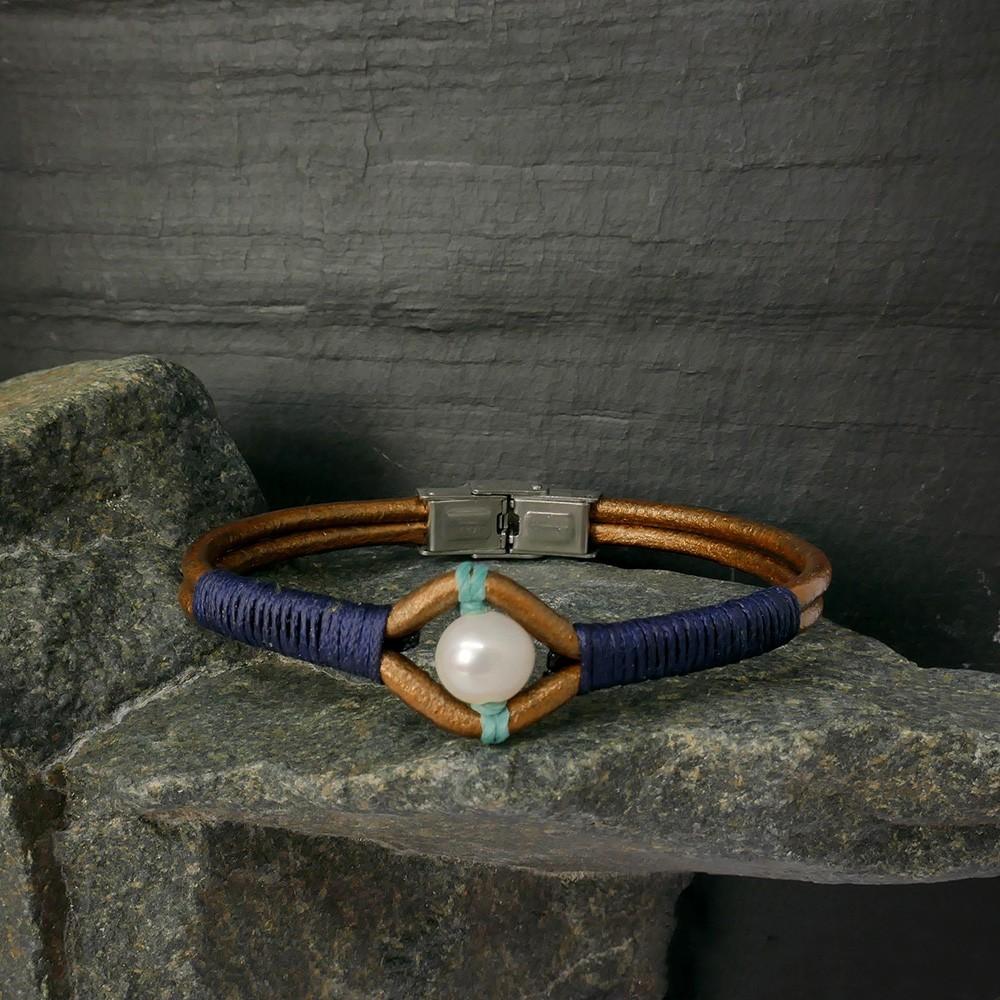 Mohave Bracelet en cuir bronze et perle de culture grise Tressage marine