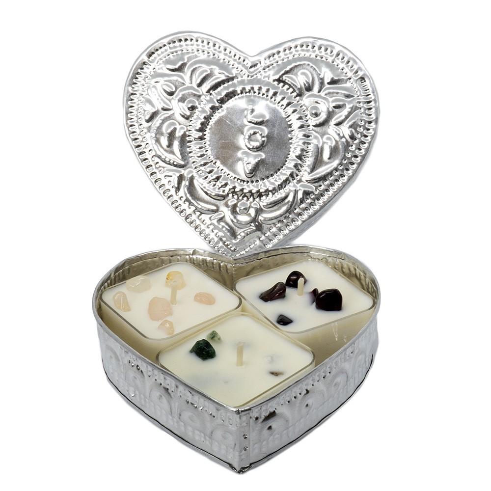 Coffret coeur 3 mini bougies parfumées et pierres