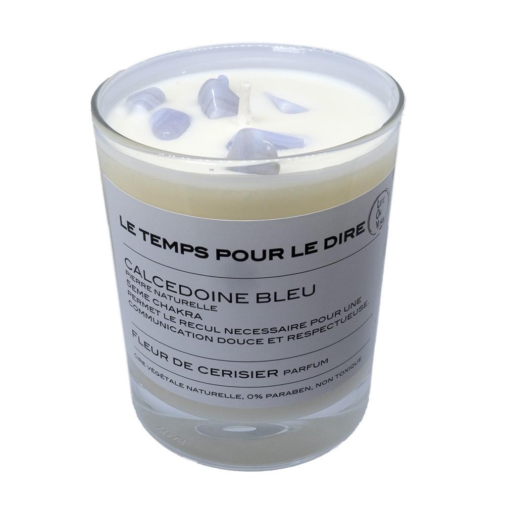 Bougie Calcédoine bleue parfum Fleur de cerisier