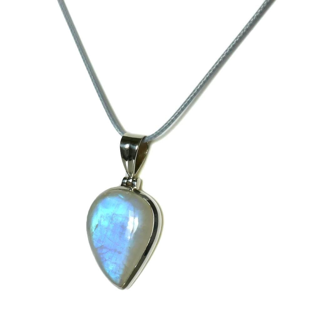 Grand pendentif pierre de lune bleue sur argent 925