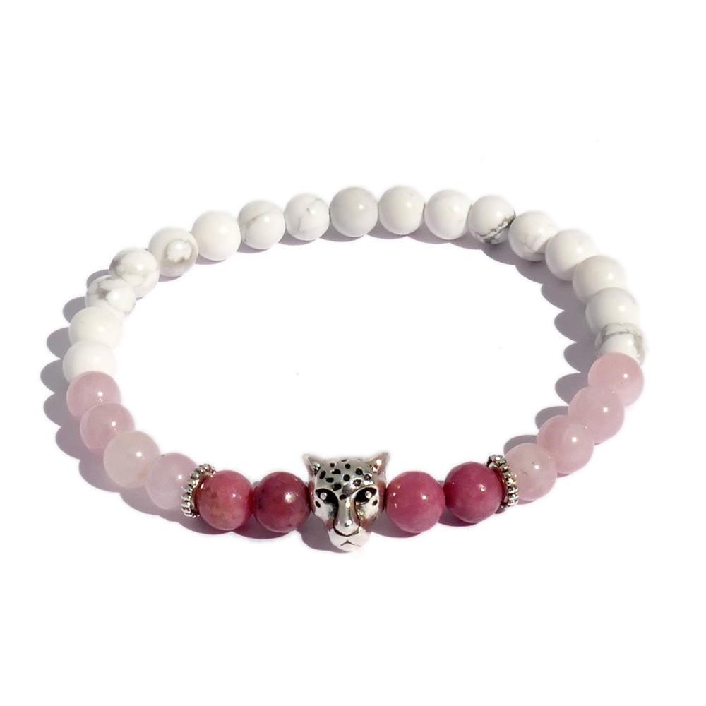 Bracelet de perles ma petite panthère quartz rose