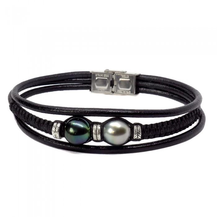 Bracelet Perle de Tahiti pour homme : 2 perles de Tahiti rondes. Modèle BLEU VERT