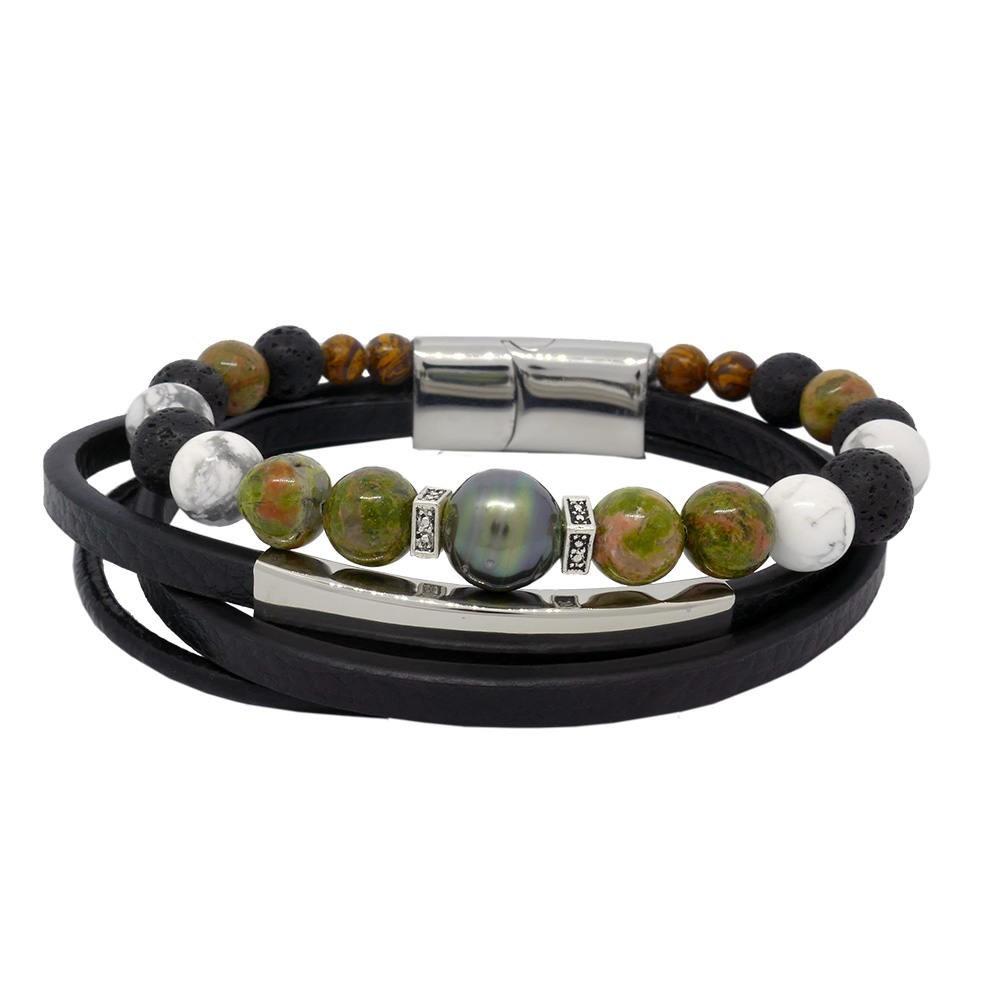 Inspiration unakite Bracelet homme en cuir, perle de Tahiti et pierres