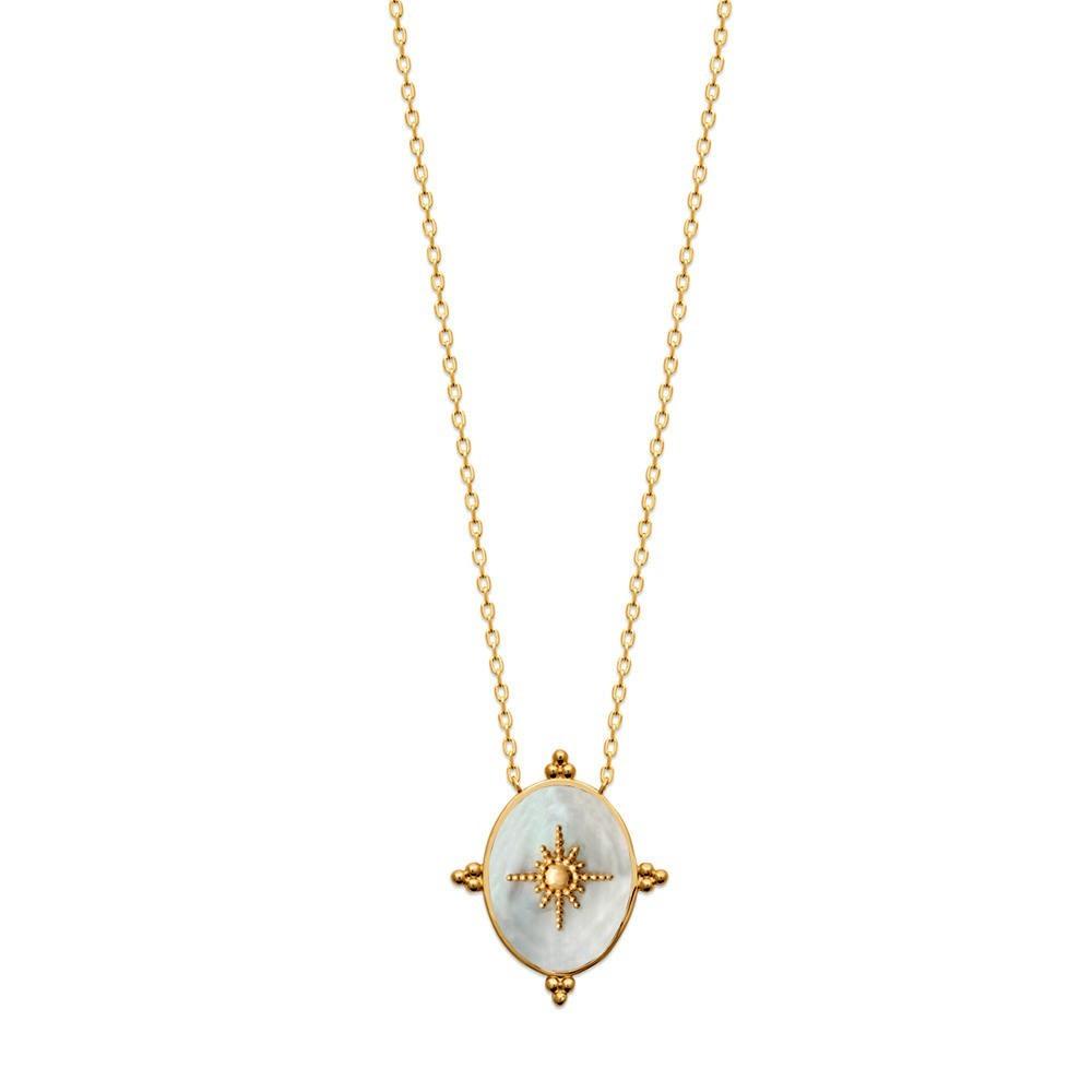 Aurélia collier en plaqué or 3 microns avec un médaillon en nacre réversible