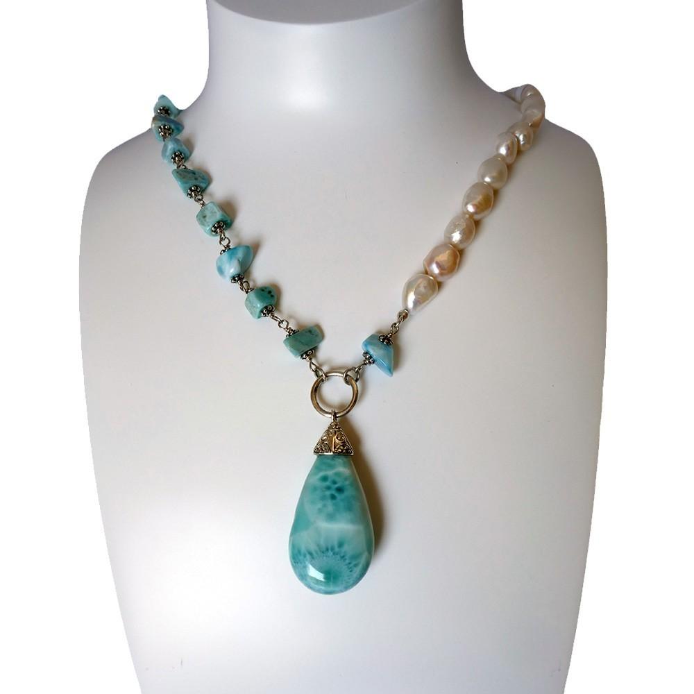 Collier en larimar et perles de culture blanches