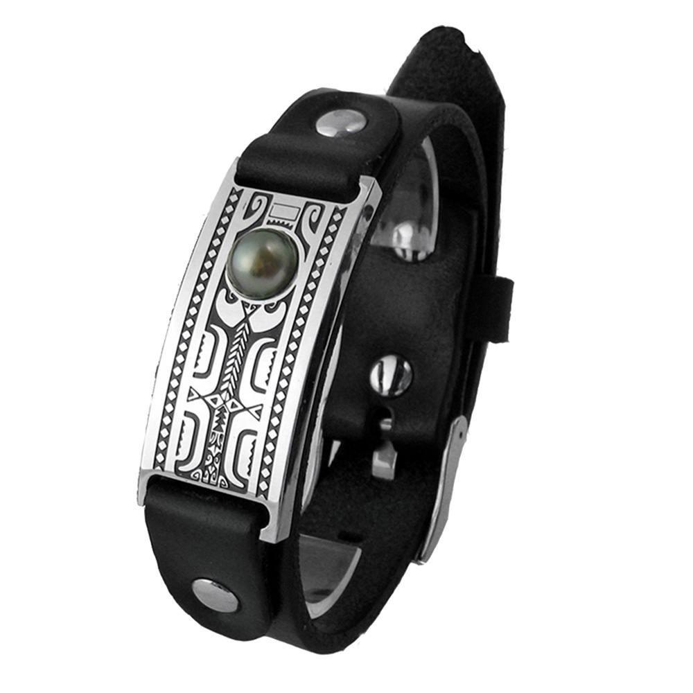 Bracelet homme FETII cuir noir et plaque en acier gravé Tiki et perle de Tahiti