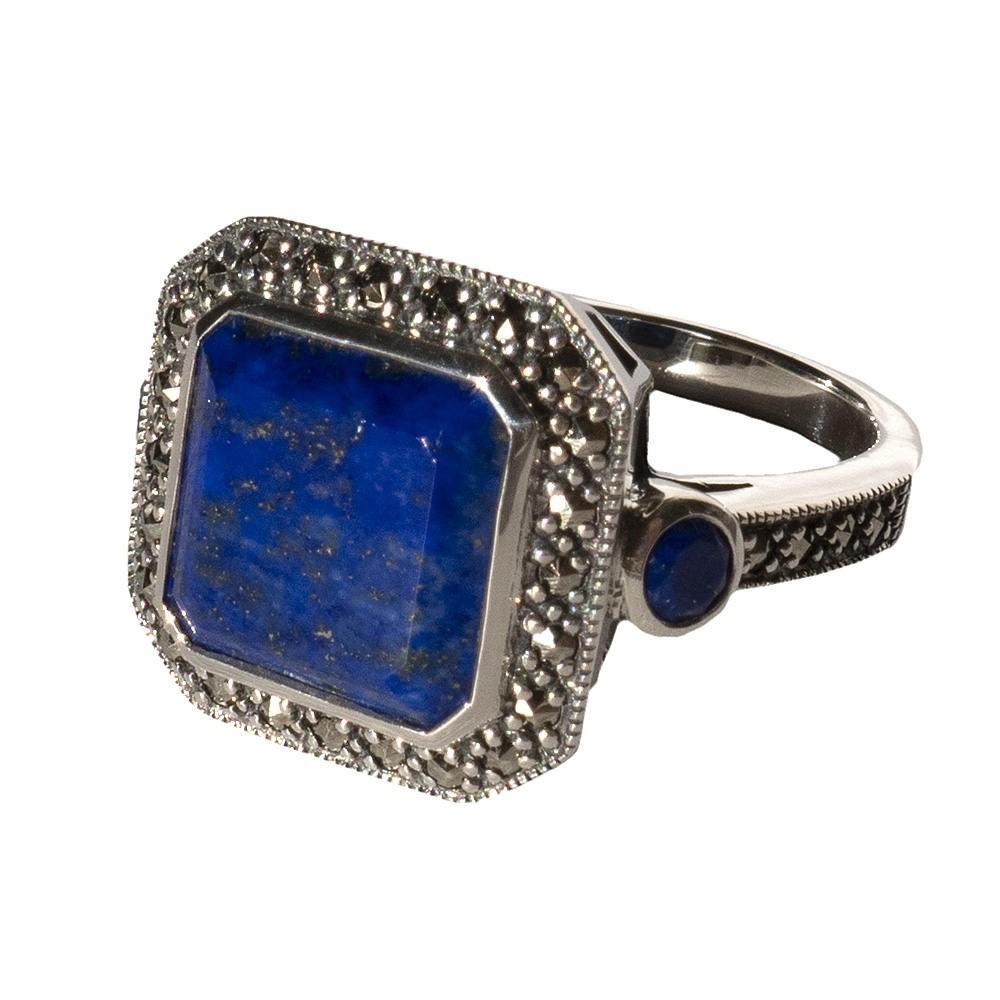 Saint Honoré Bague art déco lapis lazuli et marcassites. Argent 925