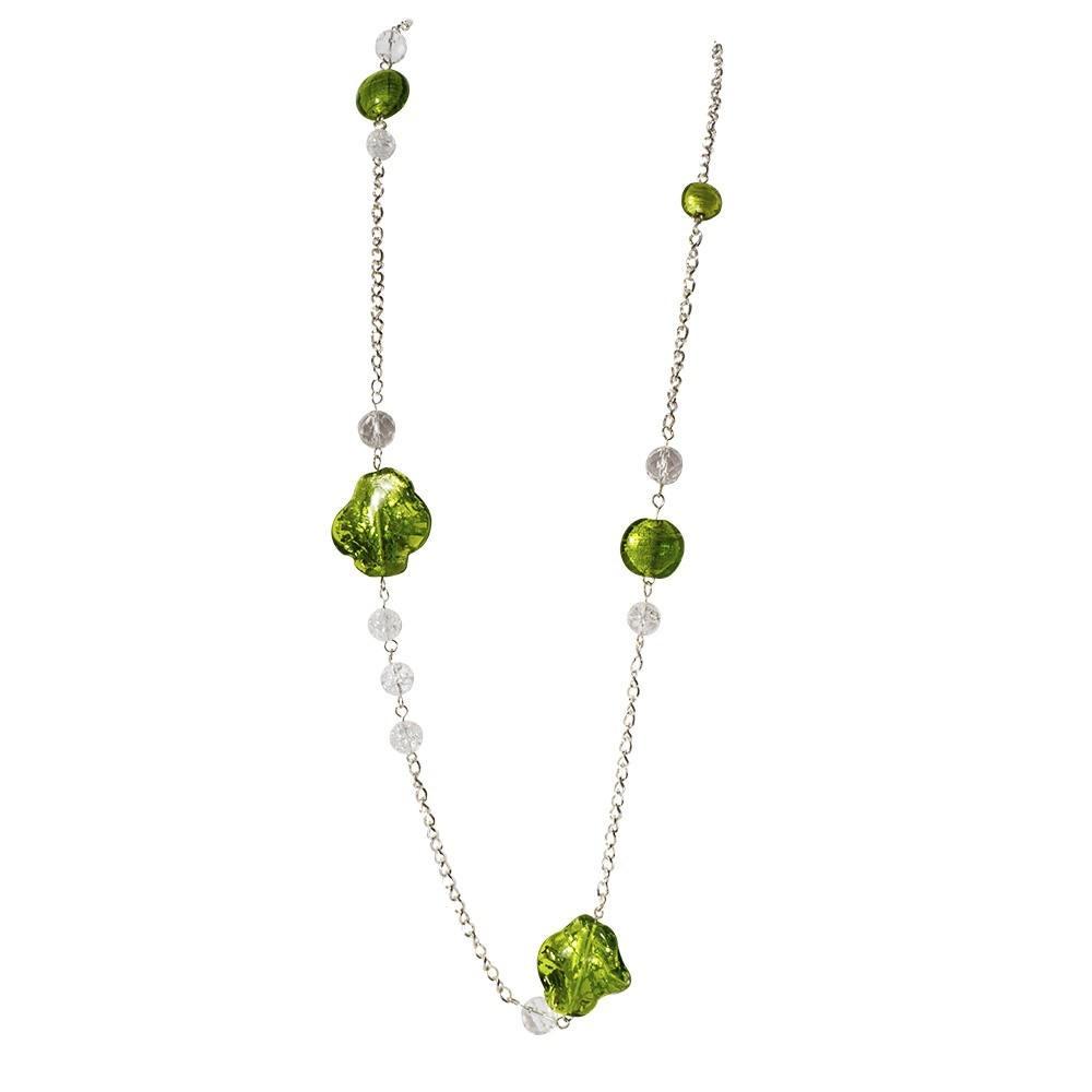 Grand sautoir en argent et verre de Murano vert