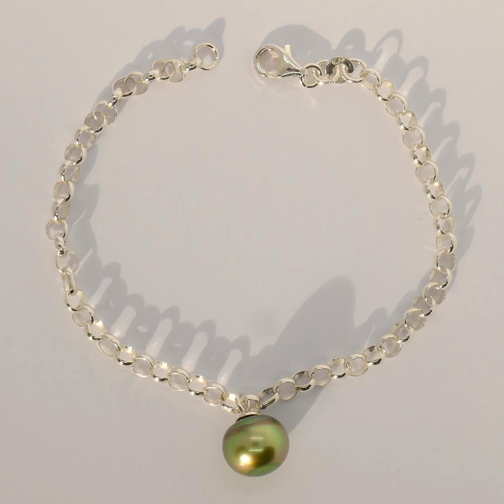 Regia Bracelet Perle de Tahiti vert jaune sur chaine argent