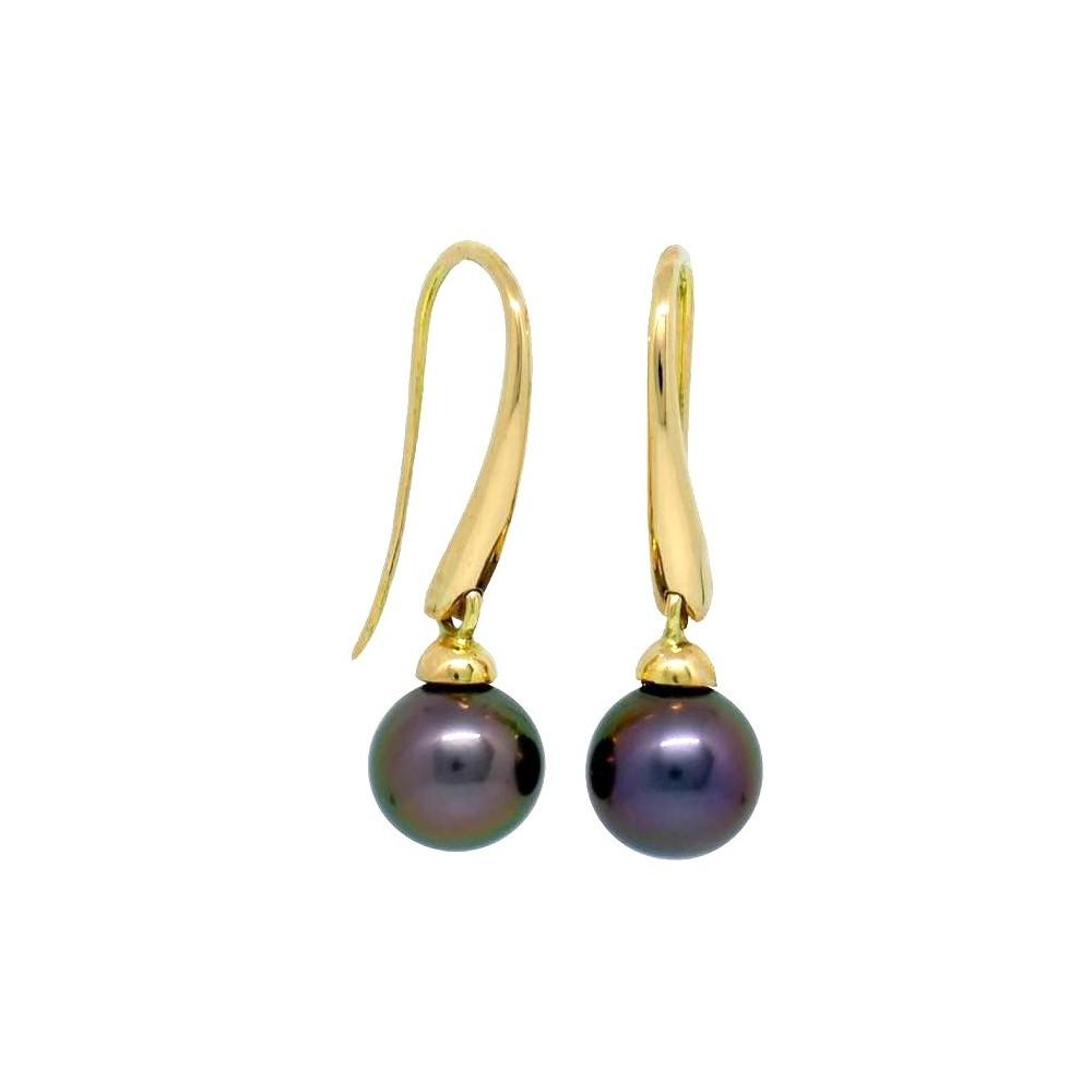 Boucles d'oreilles Monaco 0r 750 et perles de Tahiti