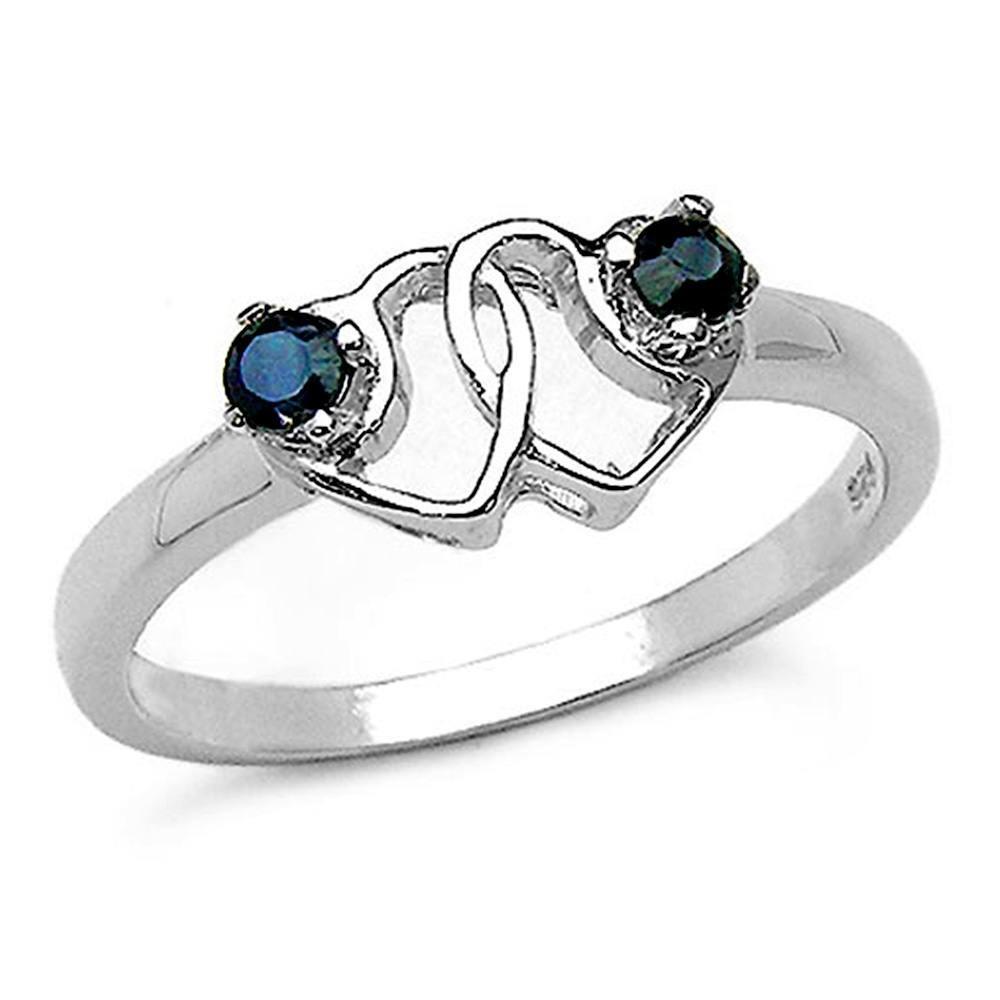 Bague Love saphirs bleus. Argent 925