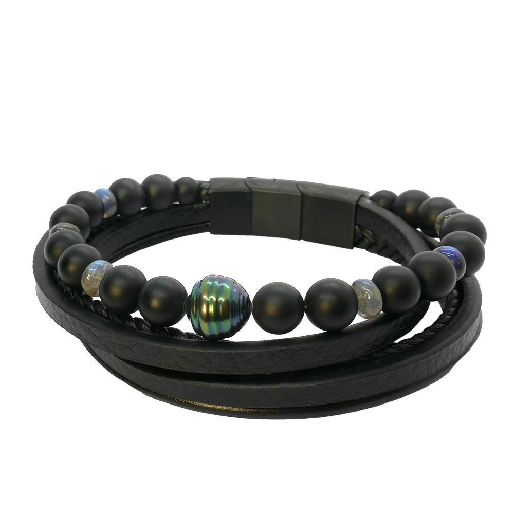 Séduction Labradorite: Bracelet homme en cuir et perle de Tahiti