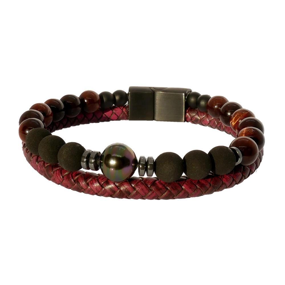 Passion rouge: Bracelet luxe pour homme en cuir bordeaux  et perle de Tahiti