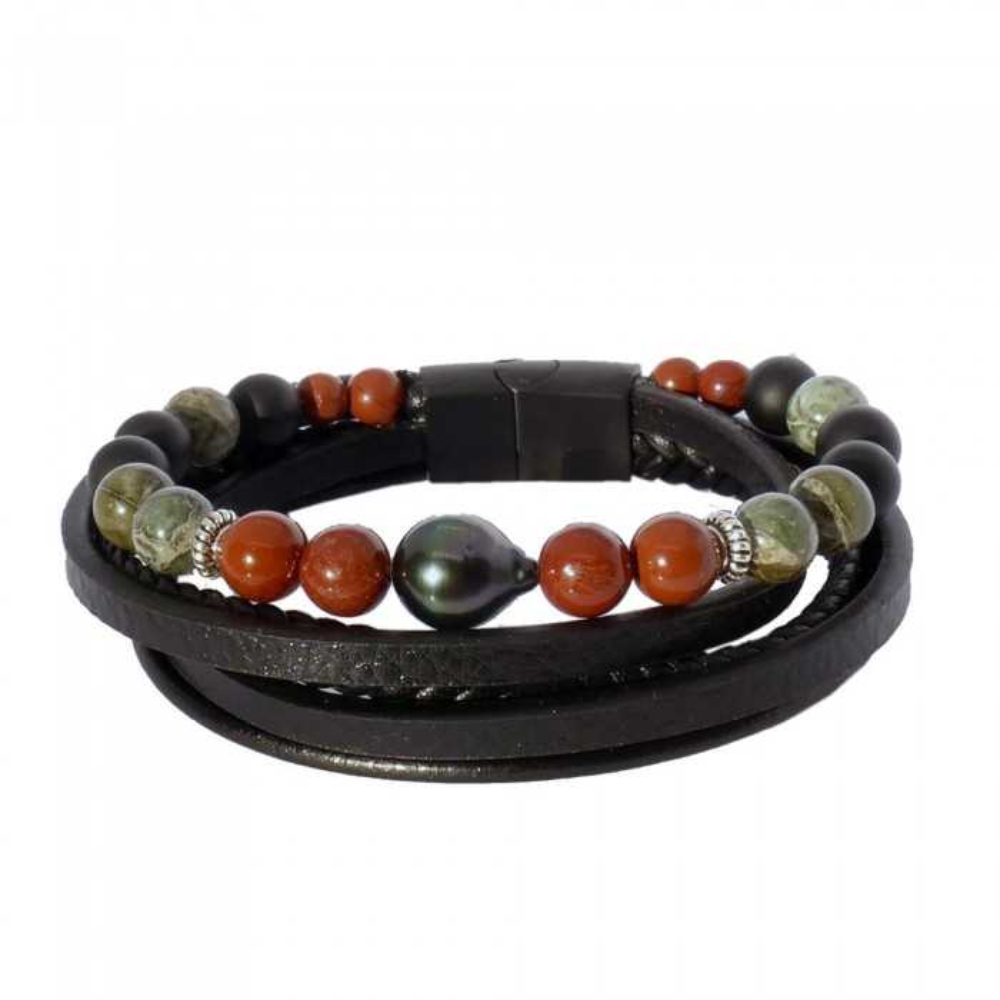 Séduction Jaspe: Bracelet homme en cuir et perle de Tahiti ouvert. Fermoir noir magnétique