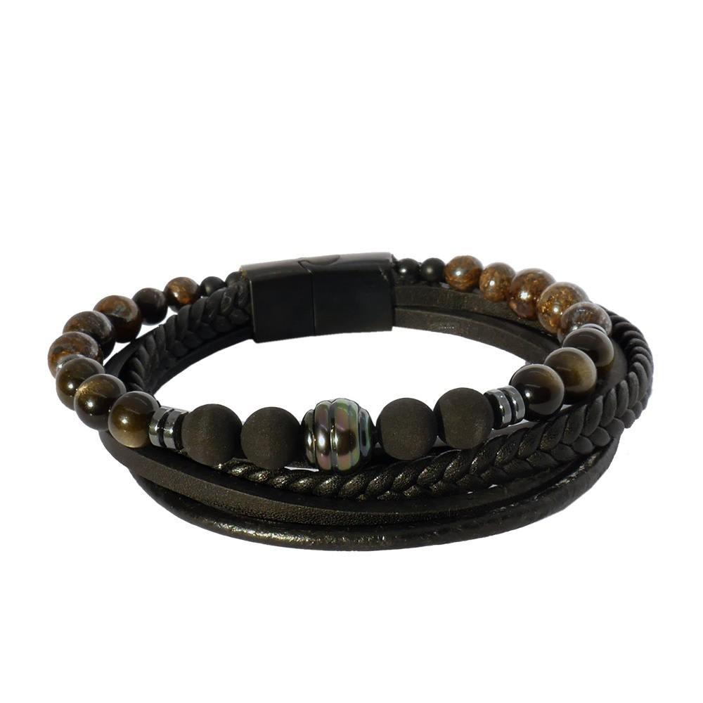 Séduction obsidienne : Bracelet pour homme perle de Tahiti sur cuir noir