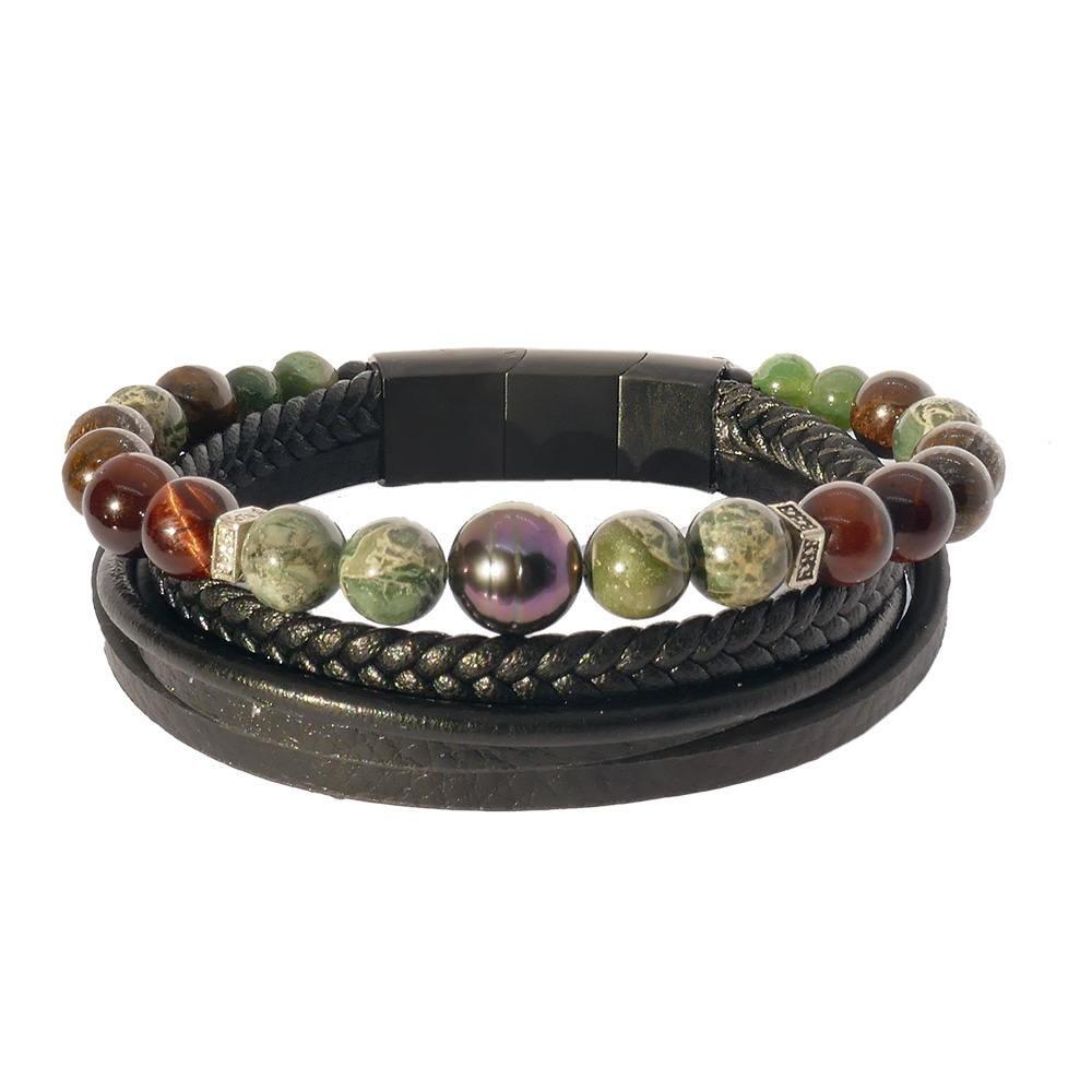 Séduction œil de taureau: Bracelet homme perle de Tahiti et pierres  sur cuir noir