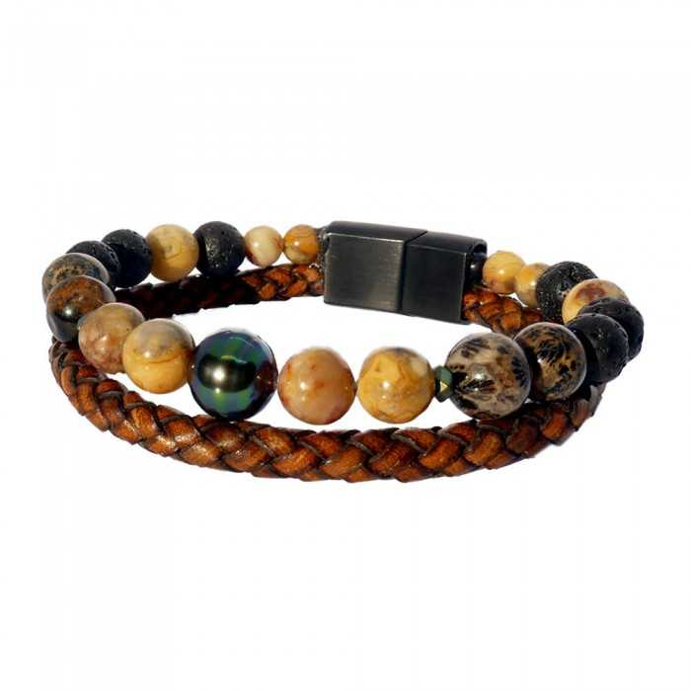 Passion ocre: Bracelet pour homme jaspe jaune,corail et perle de Tahiti