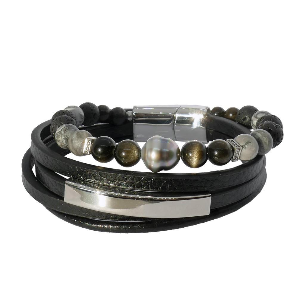 Inspiration Obsidienne: Bracelet homme en cuir, perle de Tahiti et pierres naturelles grises et noires