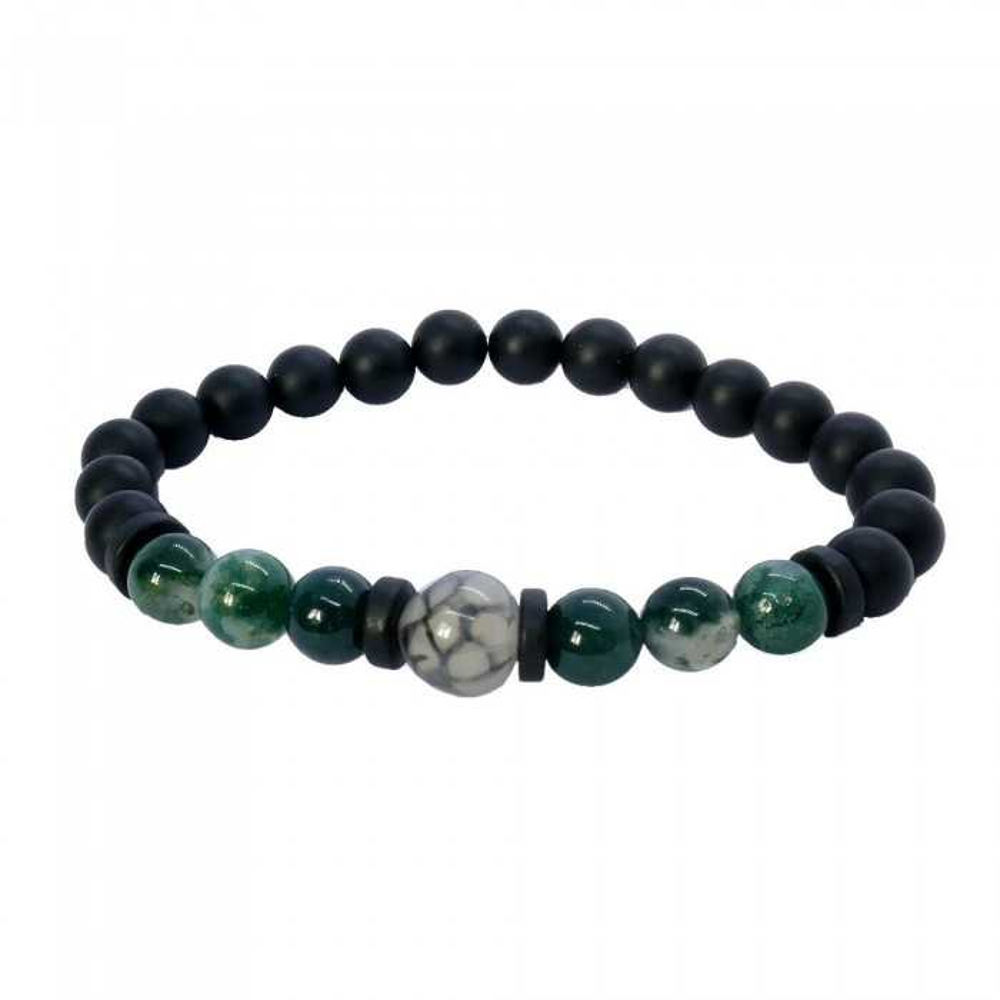 OSKAR Bracelet Homme en quartz mousse vert