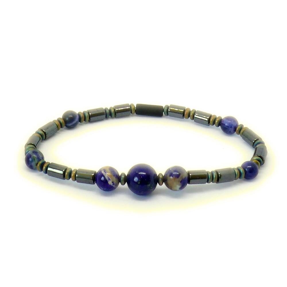 SIMON Bracelet en sodalite bleue et hématite