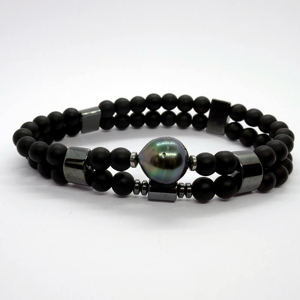 RUBEN Bracelet Homme en onyx noir mat et perle de Tahiti