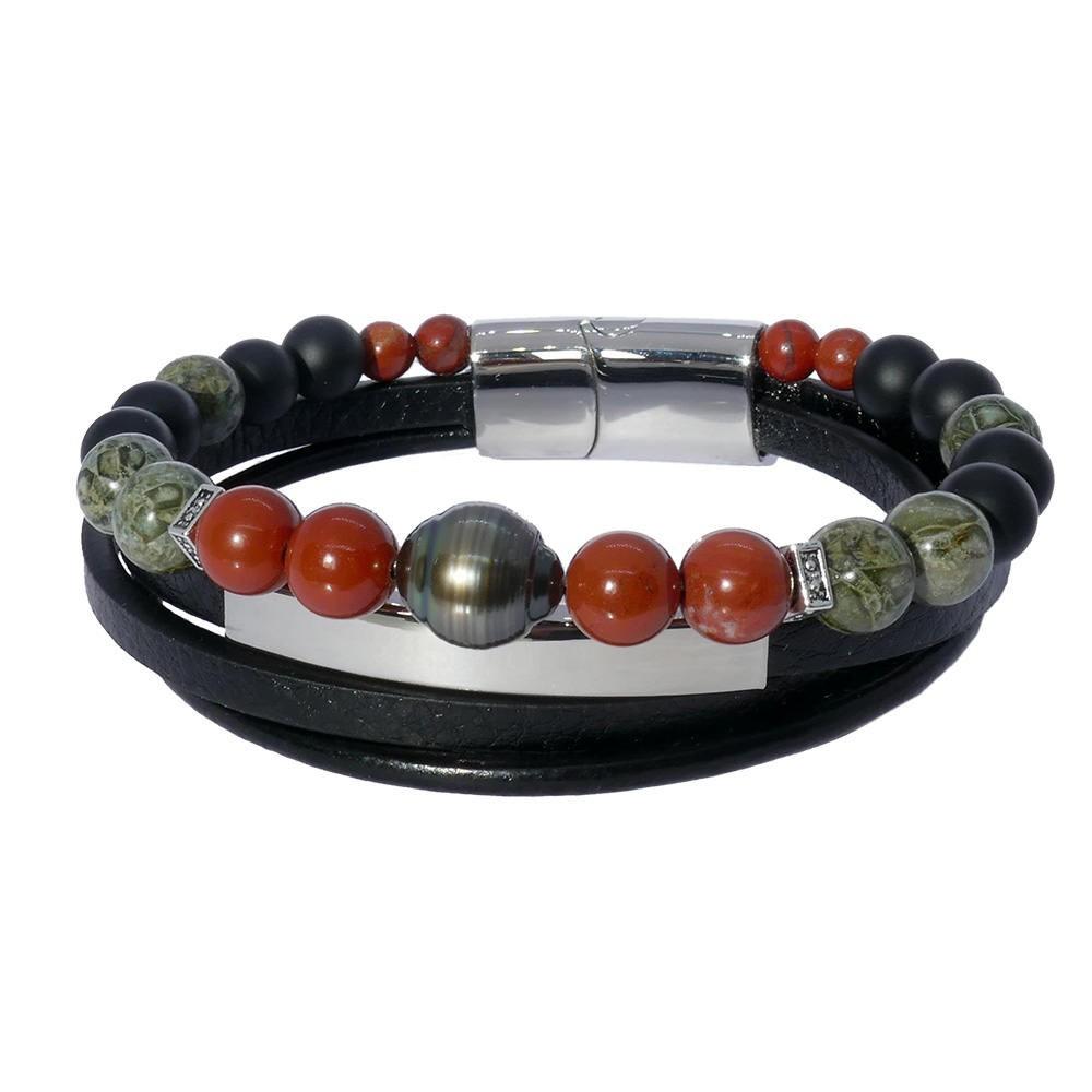 Inspiration Jaspe: Bracelet pour homme en cuir, jaspe et perle de Tahiti