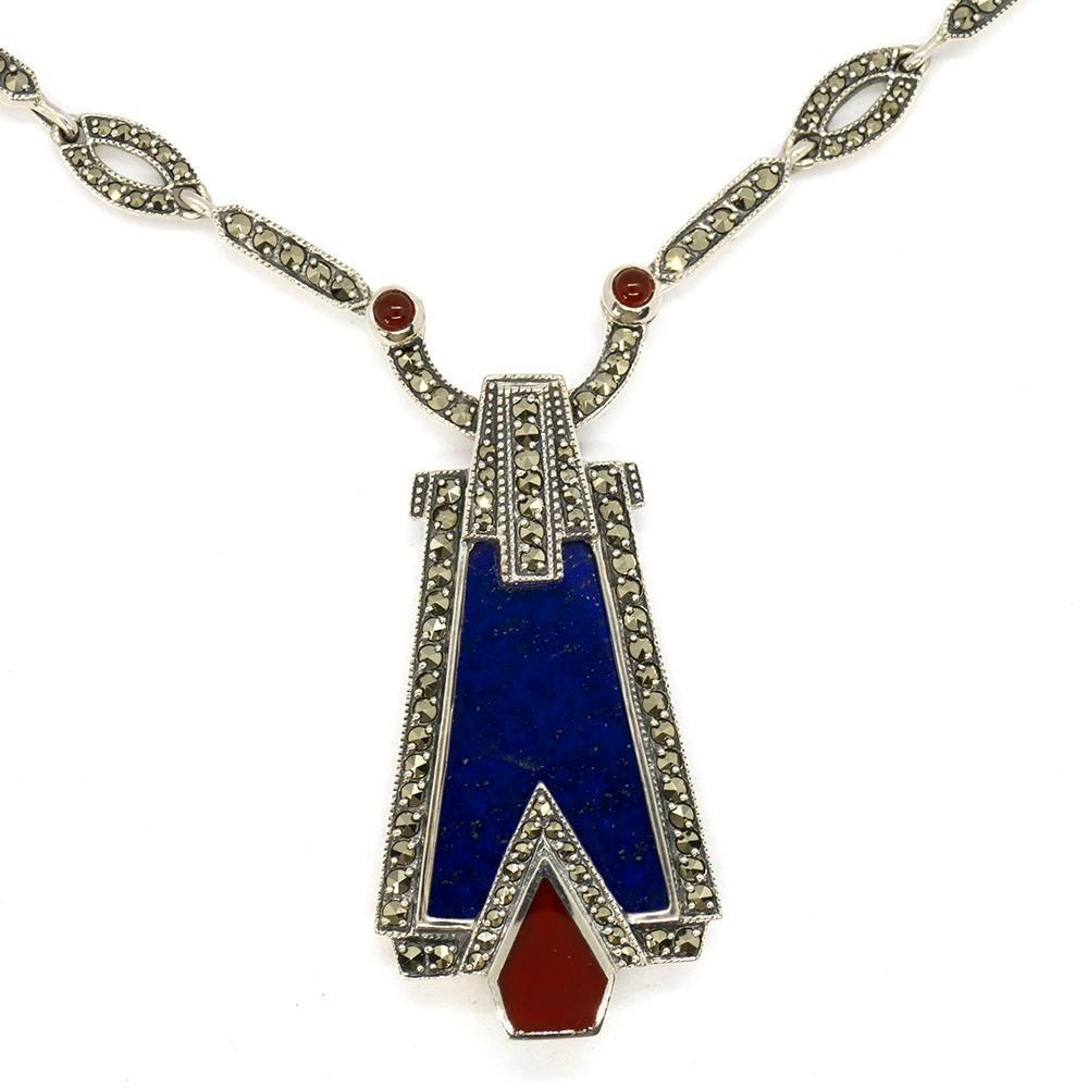 Collier art déco en argent massif, lapis lazuli, cornaline et marcassites