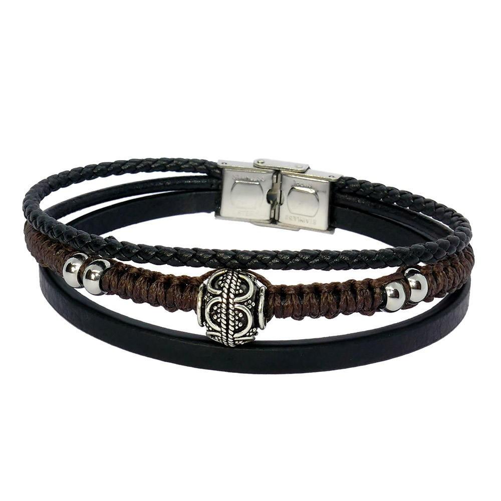 Ross Bracelet pour homme en cuir et perle de Bali en argent
