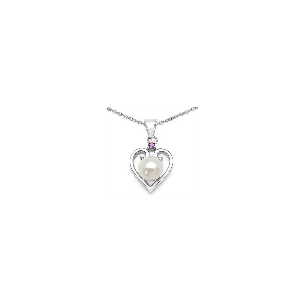 Pendentif Coeur perle goutte et grenat. Argent massif rhodié