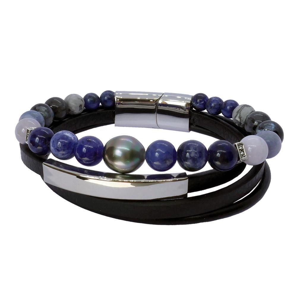 Inspiration in  blue: Bracelet homme perle de Tahiti et pierres bleues