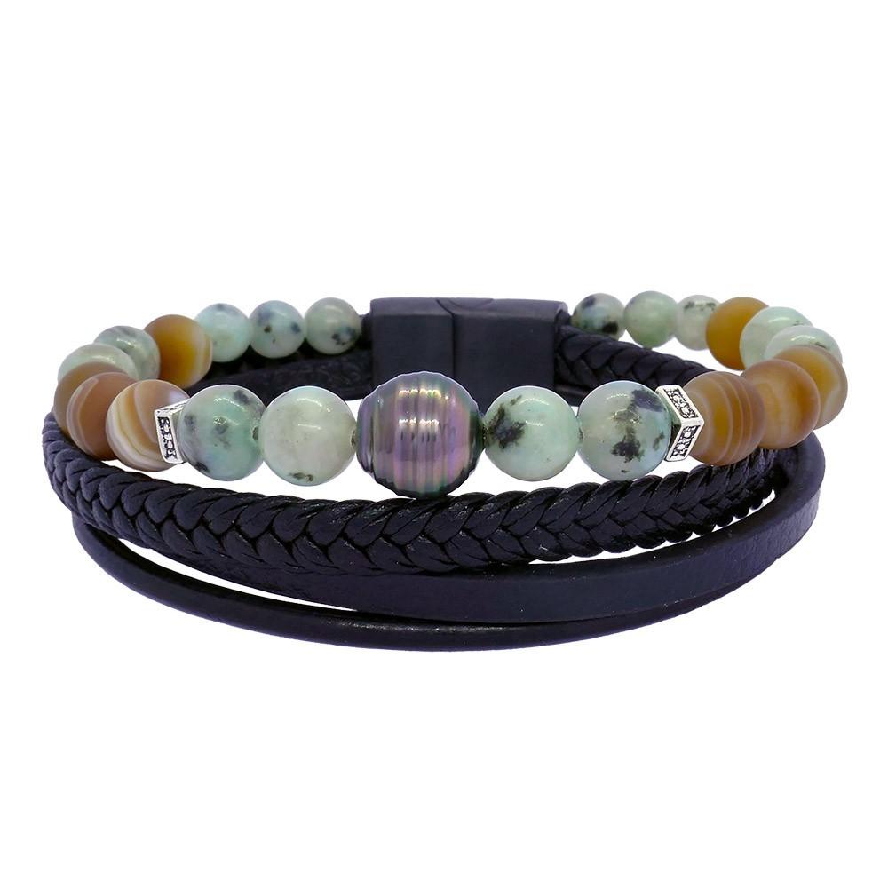 Séduction Agate: Bracelet pour homme pierres et perle de Tahiti