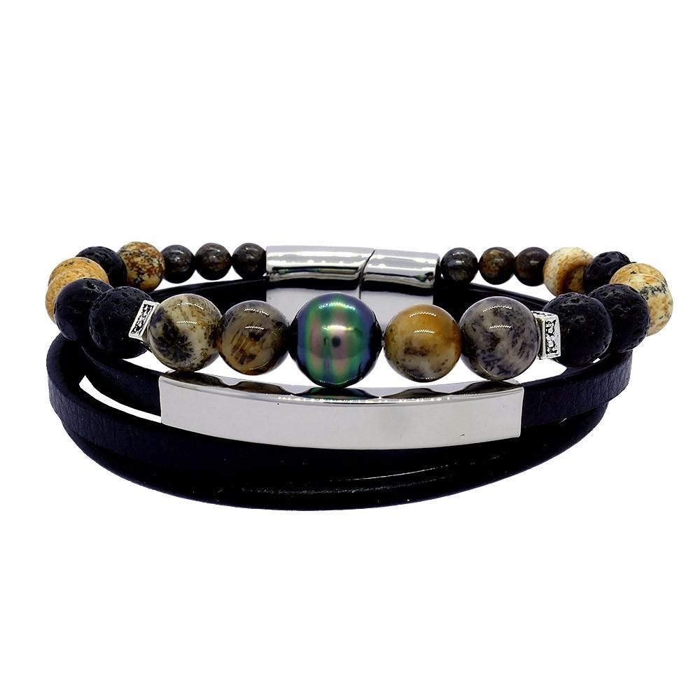 Bracelet Inspiration corail pour homme avec une perle de Tahiti