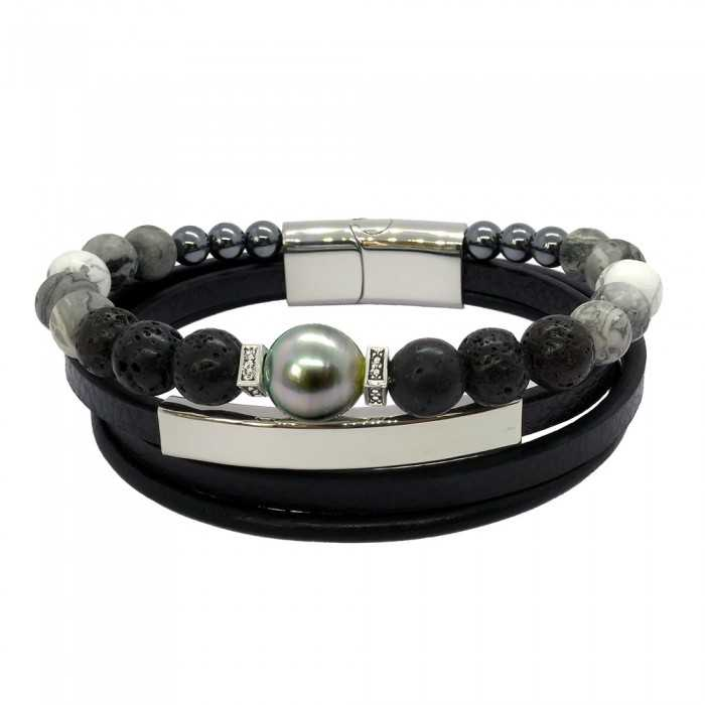Bracelet homme en cuir, agate et perle de Tahiti baroque