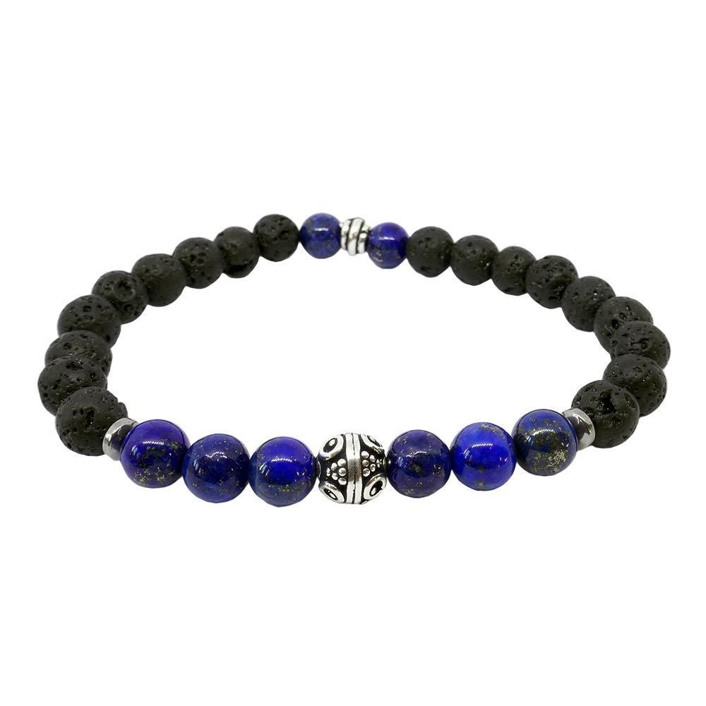 Valeria, bracelet en lapis lazuli et pierre de lave