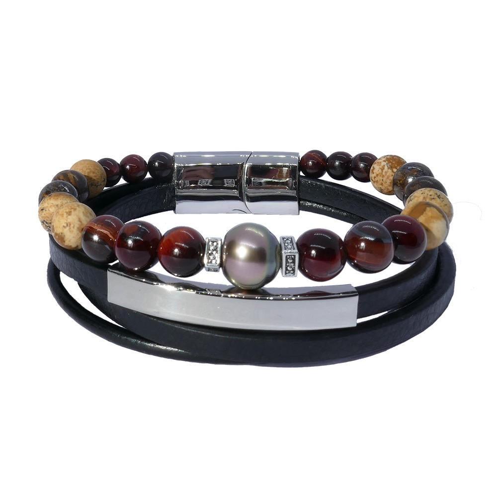 Inspiration chocolat: Bracelet homme luxe perle de Tahiti et oeil de fer