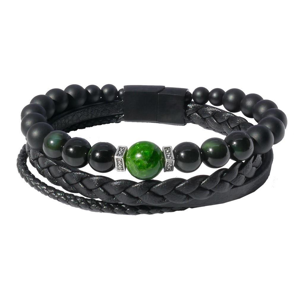 Smarago: Bracelet homme luxe et obsidienne vert émeraude