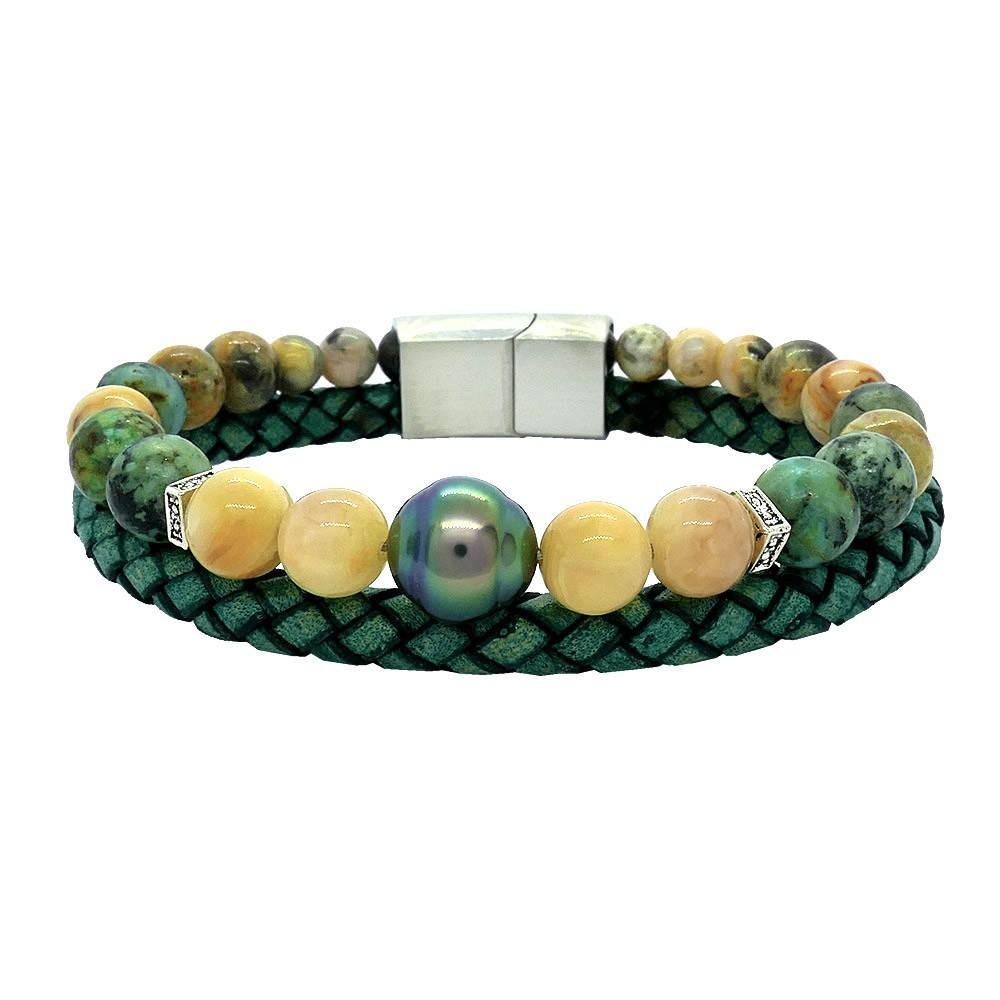 Bracelet homme en cuir turquoise et perle de Tahiti