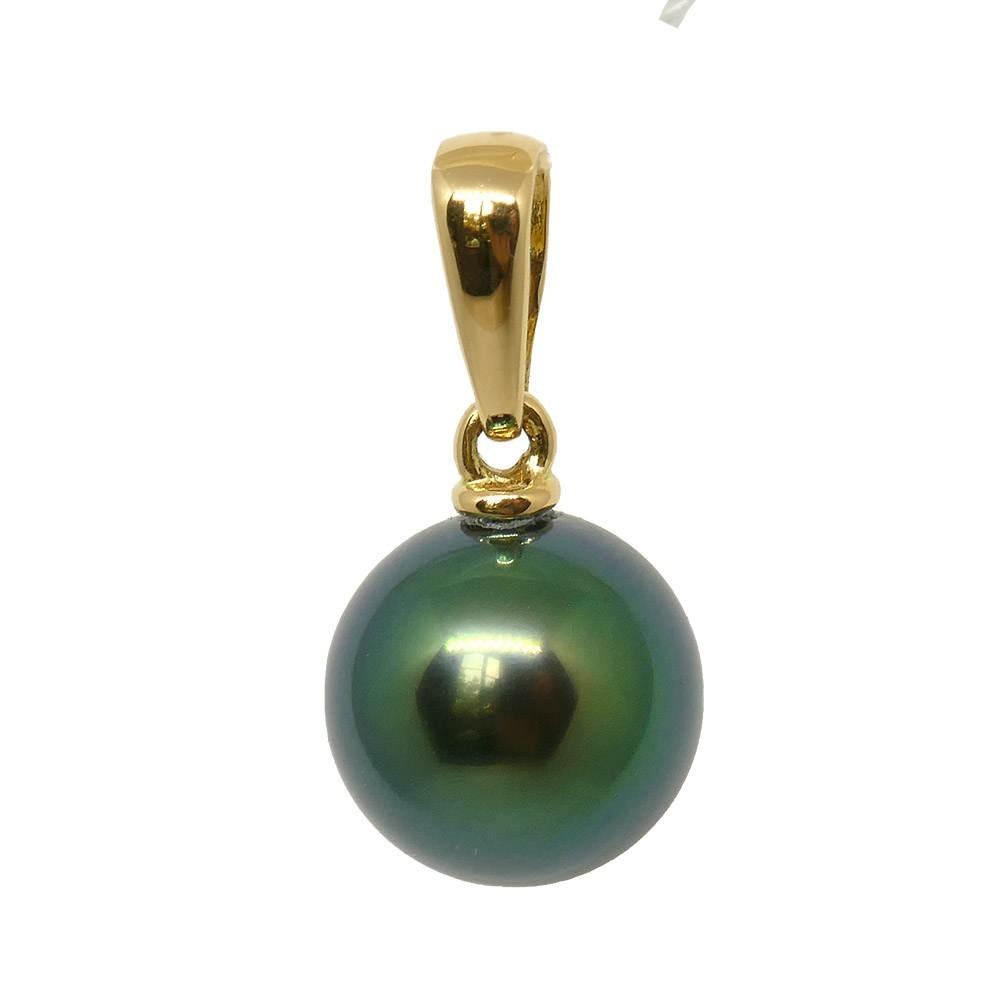 Morgane Pendentif  en or jaune 750 Perle de Tahiti ronde 9-10mm