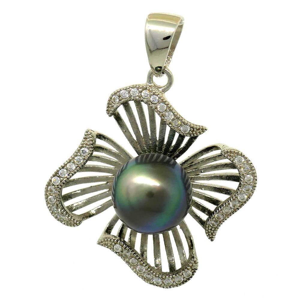 Pendentif en forme de fleur en argent 925 avec une perle de Tahiti au centre