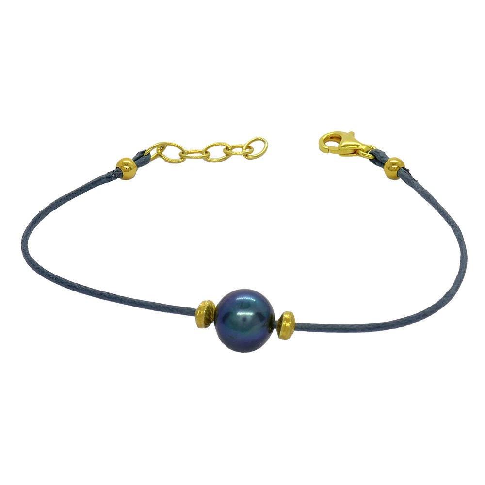 Lola bracelet fin Perle noire sur cordon gris. Argent plaqué or