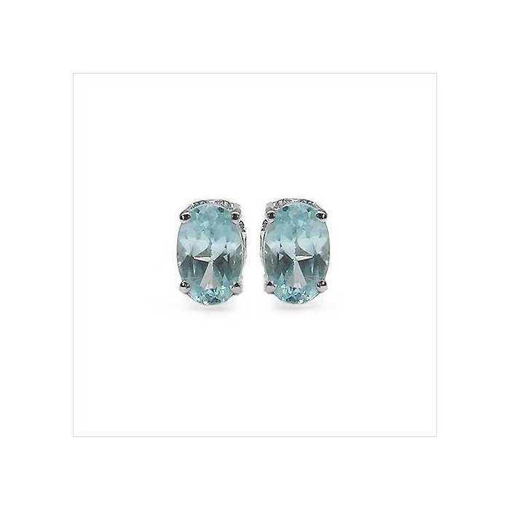 Boucles CLASSIC 64 topaze bleue Argent massif rhodié