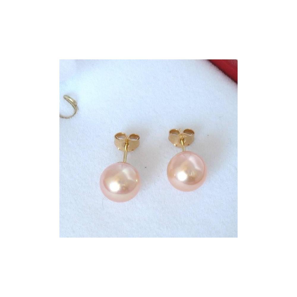 Boucles Nova B Perle de culture rose. Or 750