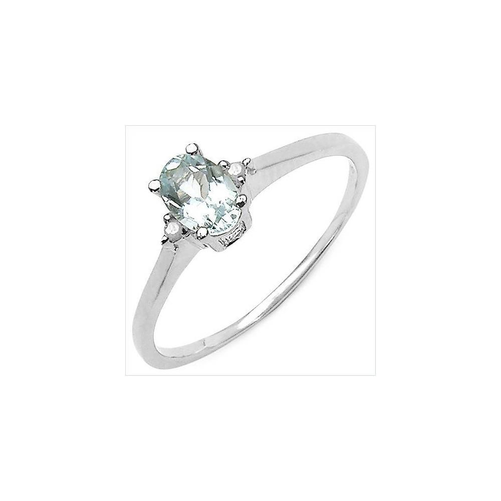Bague Orion Aigue-Marine et diamants. Argent massif rhodié