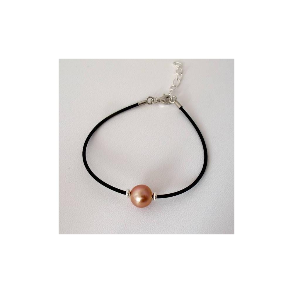 Bracelet Perle d'eau douce rose. Caoutchouc et argent 925
