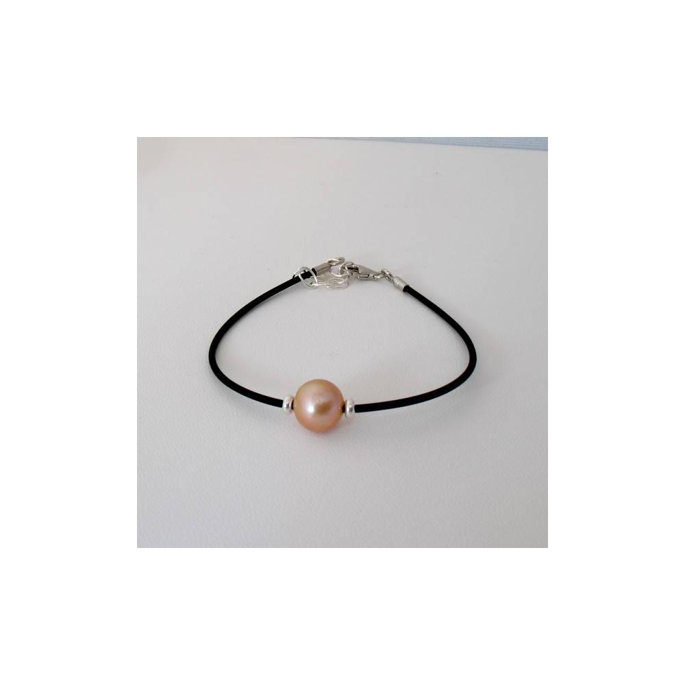 Bracelet Perle d'eau douce champagne. Caoutchouc et argent 925