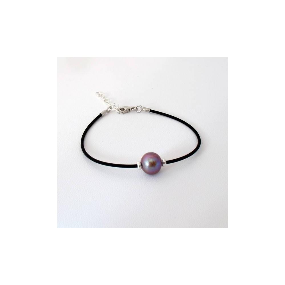 Bracelet Perle d'eau douce violine. Caoutchouc et argent 925
