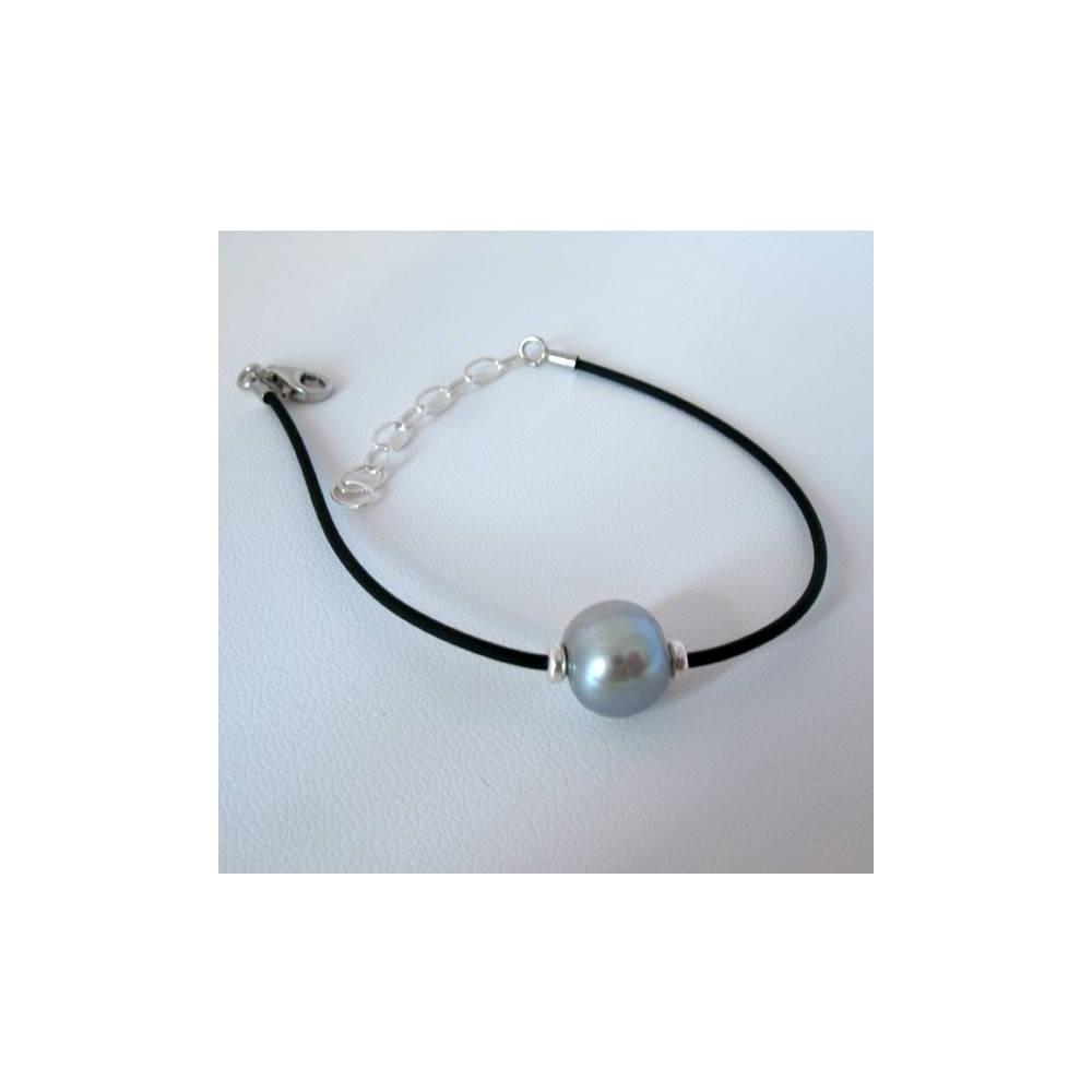 Bracelet Perle d'eau douce argent. Caoutchouc et argent 925